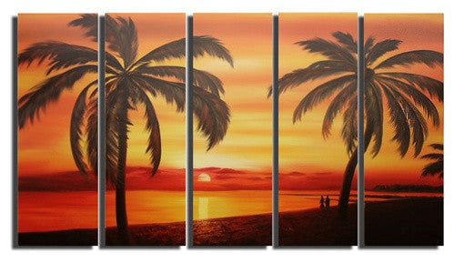Orange Yellow Red Sunset Tropical Silhouettes Canvas Wall Art Hanging