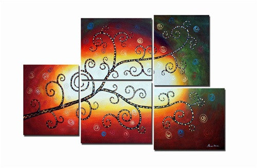 Red Celestial Tree Canvas Wall Art Hanging