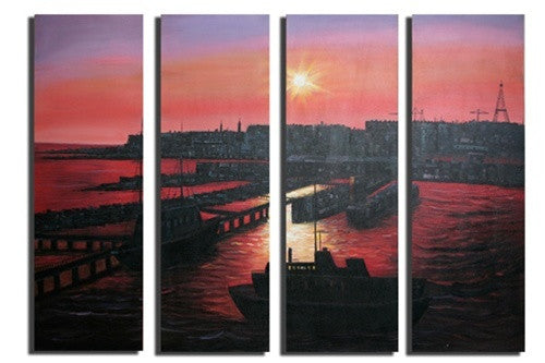 Red Sunset Seaport Canvas Wall Art Hanging