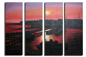Sunset Seaport Canvas Wall Art Hanging