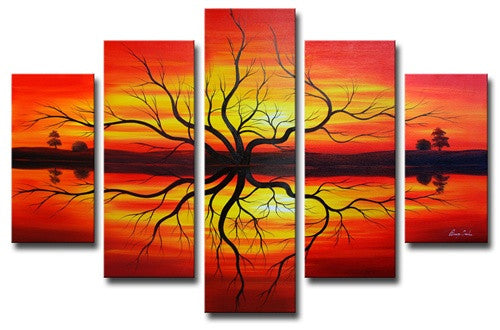 Red Mirrored Below Canvas Wall Art Hanging