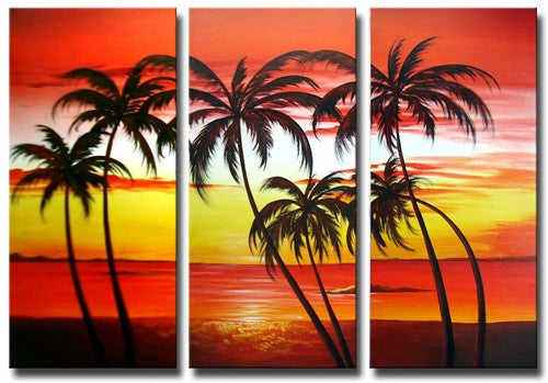 Red White Yellow Towering Palms Canvas Wall Art Hanging