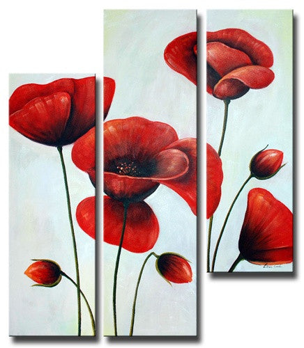 Ruby Red Poppies Canvas Wall Art Hanging