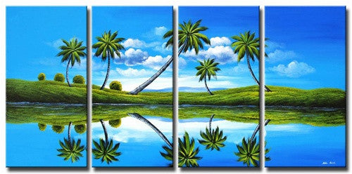 Blue Prehistoric Palms Canvas Wall Art Hanging
