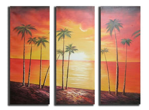 Red Coconut Grove Canvas Wall Art Hanging