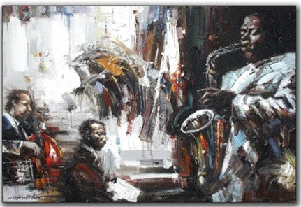 White Color Men of Jazz Oil Painting Wall Hanging