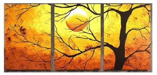 Orange Sunset Tree Silhouette Canvas Wall Art Hanging