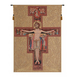 Gold Crucifix of St. Damian Italian Wall Hanging Tapestry