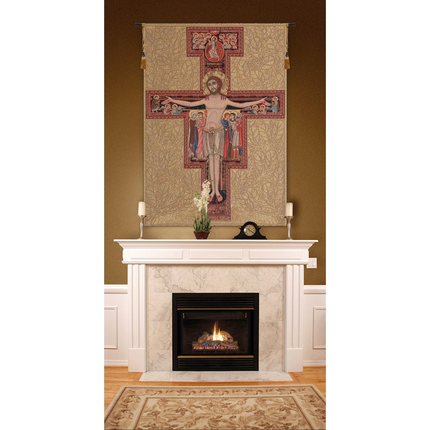 Gold Religious Cross Woven Wall Art