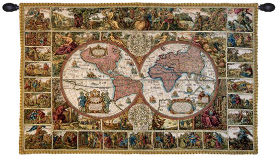 Brown Mappemonde French Wall Hanging Tapestry