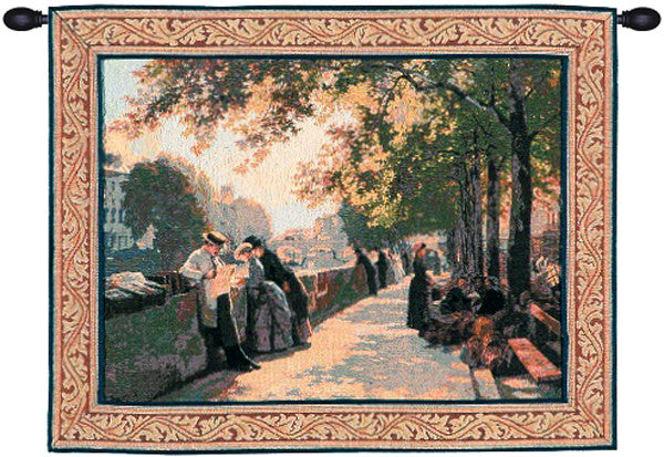 Green Bank of the River Seine I French Decor Wall Tapestry