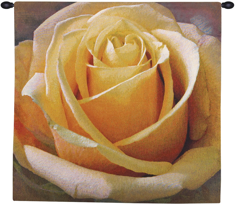 Yellow Rose Square European Hanging Wall Tapestry