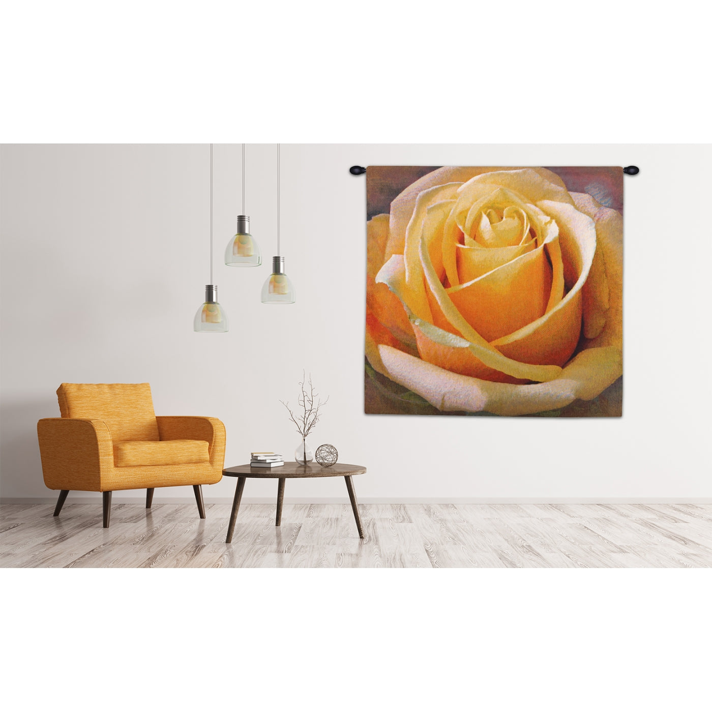 Yellow Floral Rose Square Woven Wall Hanging