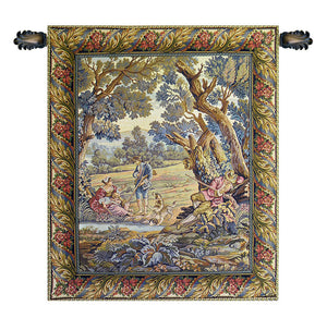 Hunters Resting Vertical Italian Wall Hanging Tapestry
