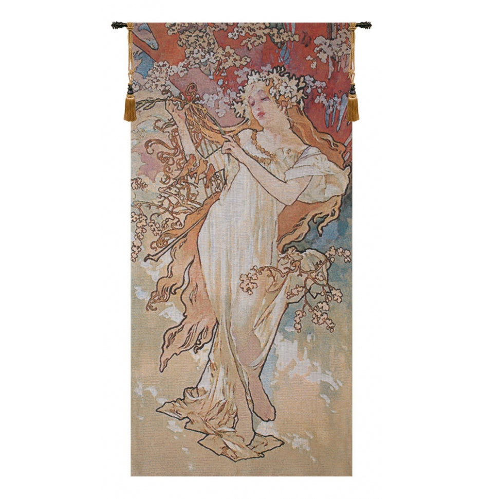Spring Mucha European Hanging Wall Tapestry