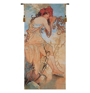 Blue Summer Mucha European Hanging Wall Tapestry