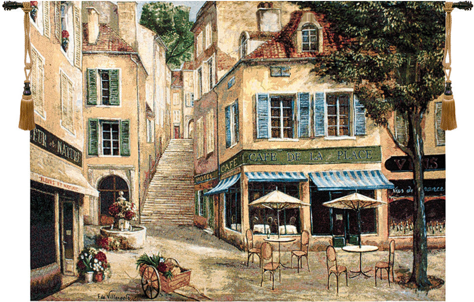 Cream Cafe de la Place Decorative Wall Hanging Tapestry