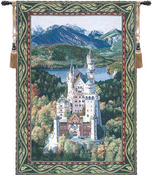 Green Neuschwanstein Castle Decorative Wall Hanging Tapestry