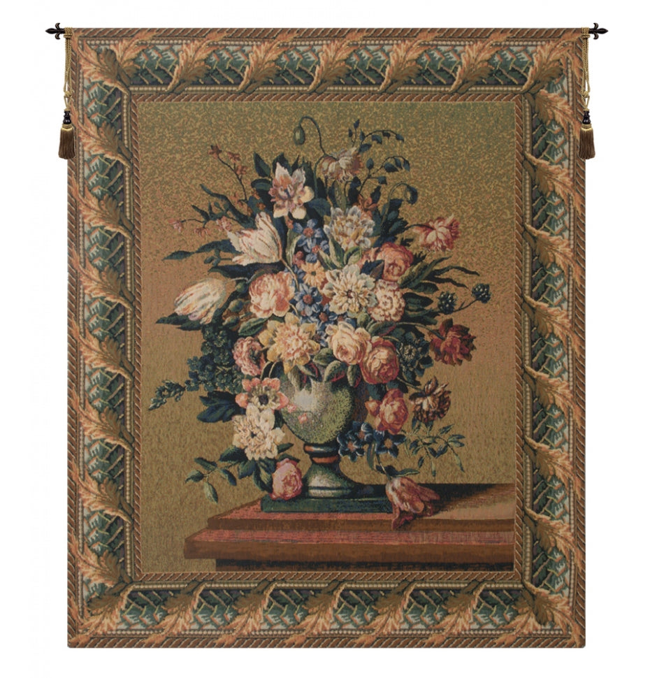 Breughel Vase Green European Hanging Wall Tapestry