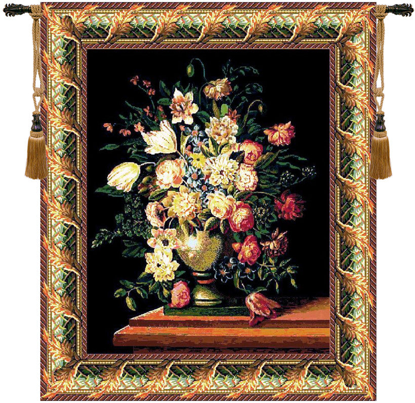 Breughel Vase Black European Wall Hanging Tapestry