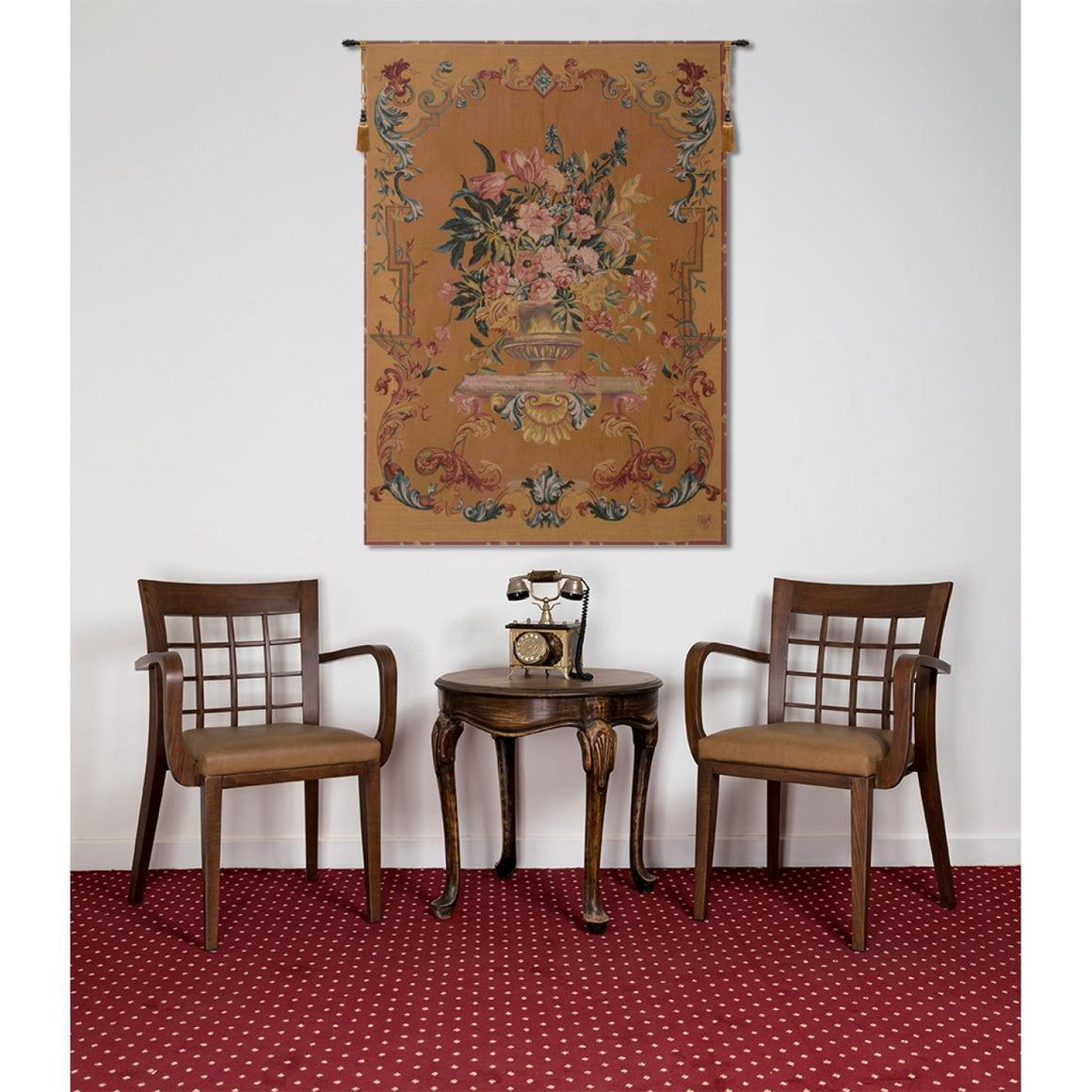 Orange English Bouquet Tapestry