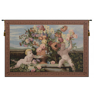 Angels and Flowers Italian Wall Hanging Tapestry