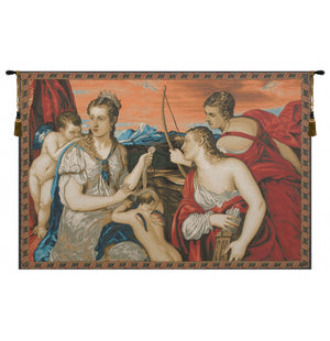 Venus Blindfolds Cupid Italian Wall Hanging Tapestry