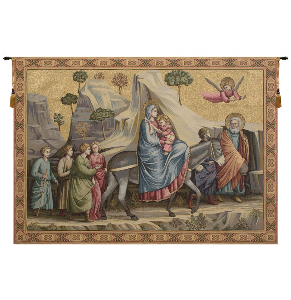 Grey Flight into Egypt Italian Wall Hanging Tapestry