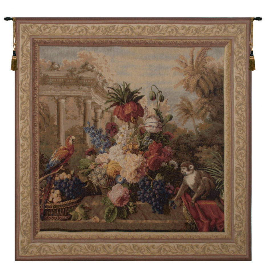 Bouquet Exotique with Monkey French Wall Tapestry