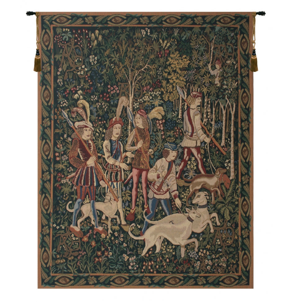 Unicorn Hunt with Border Wall Decor Tapestry