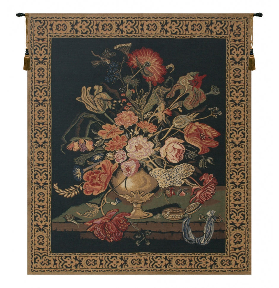 Mignon Bouquet Black Wall Tapestry