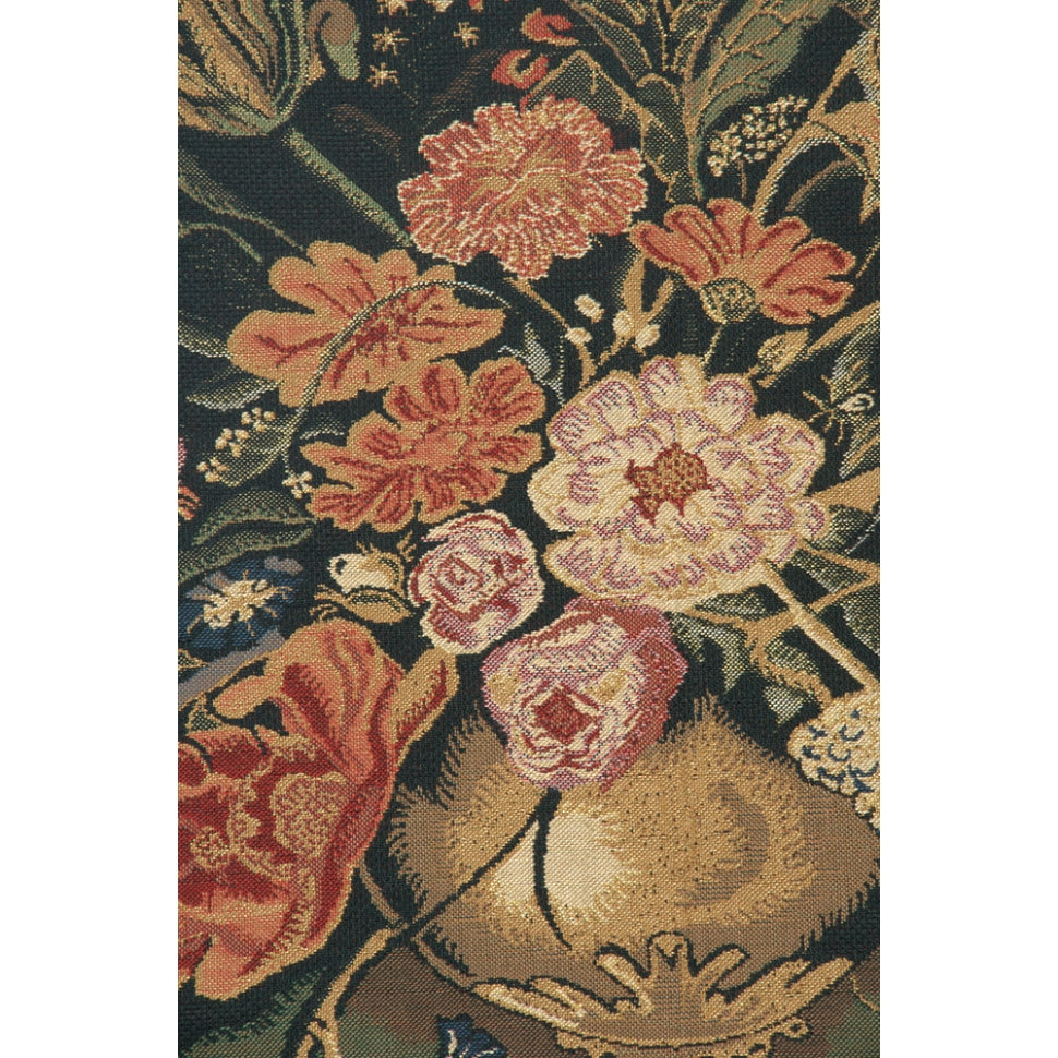 Small Black Flowers in Vase Woven Textile