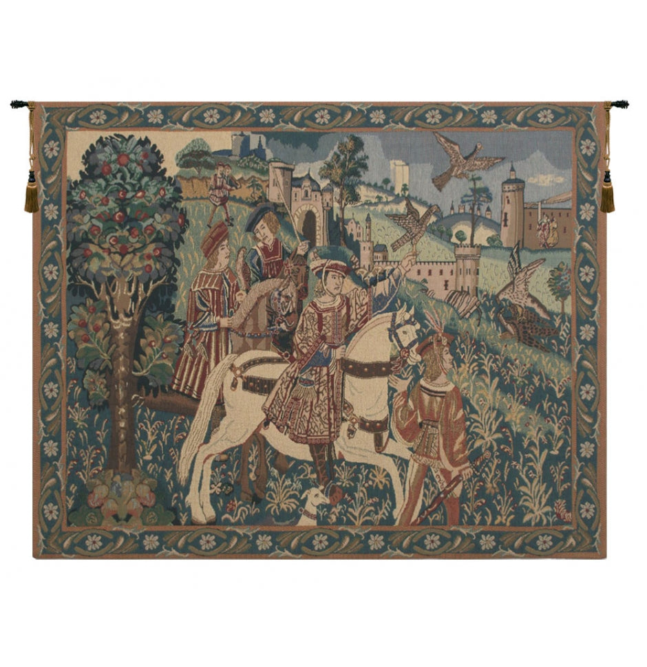 Falcon Hunt II Wall Cotton Tapestry
