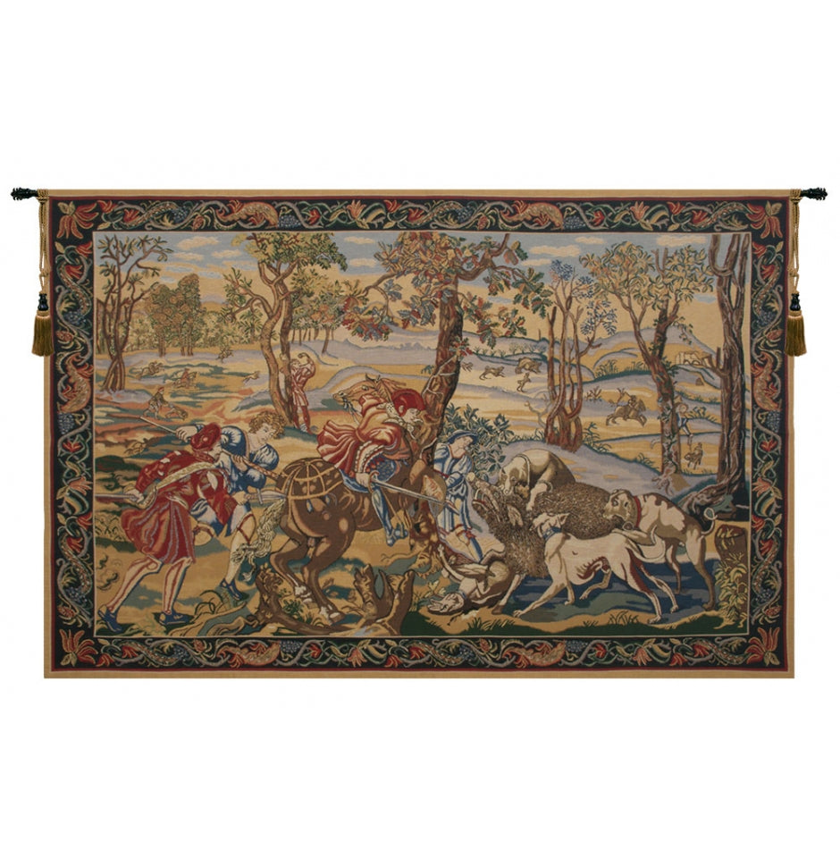 Brown Hunt of the Boar Wall Hanging Decor