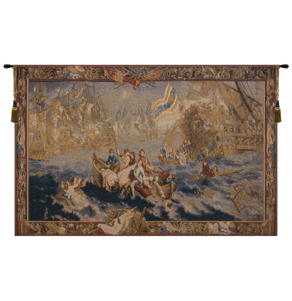 Blue Bataile Navale Woven Wall Tapestry