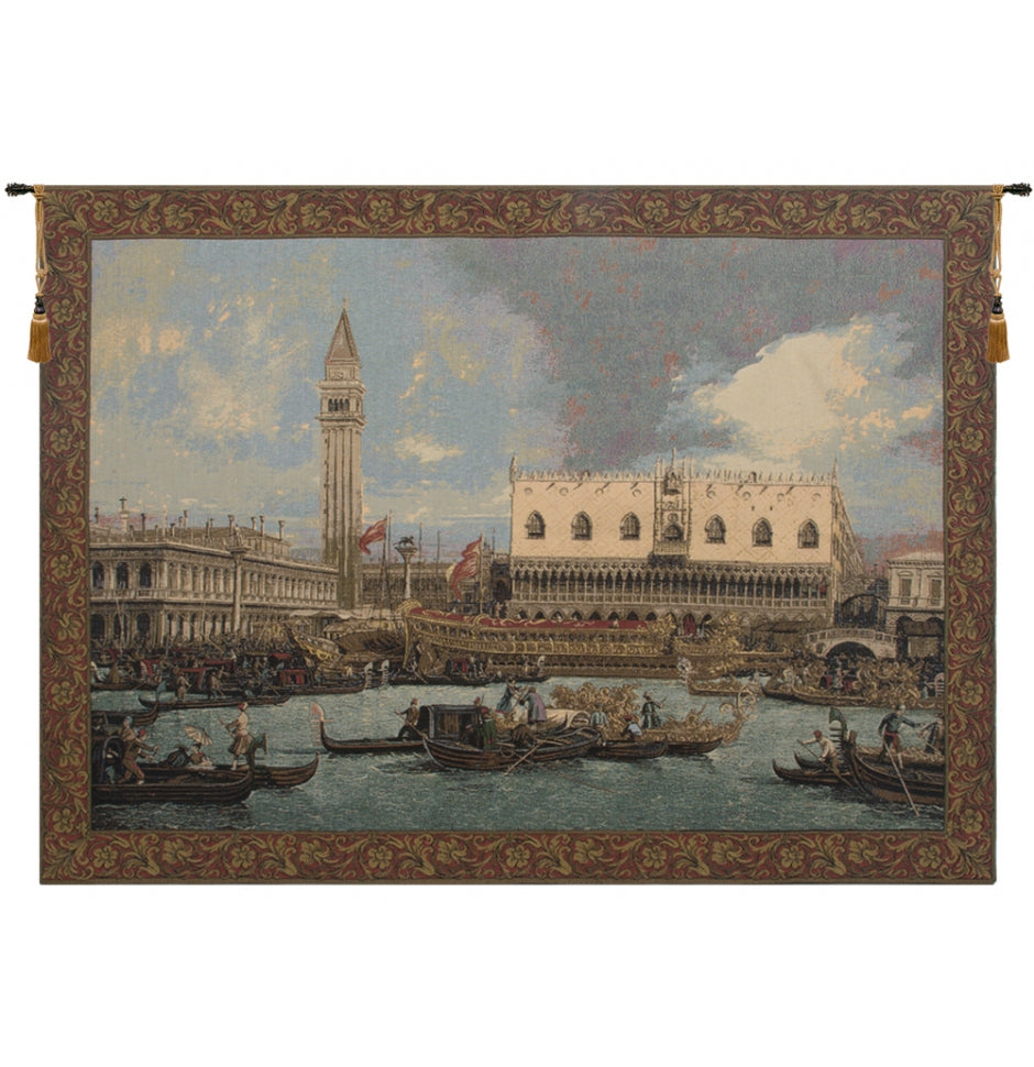 Blue Bucintoro at the Dock Italian Wall Hanging Tapestry
