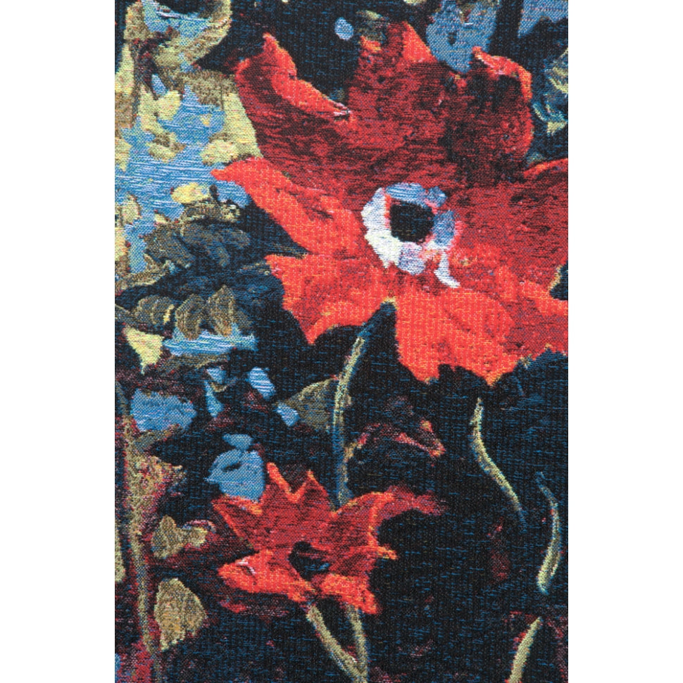 Vibrant Red Bouquet Jacquard Loom Hanging on Wall
