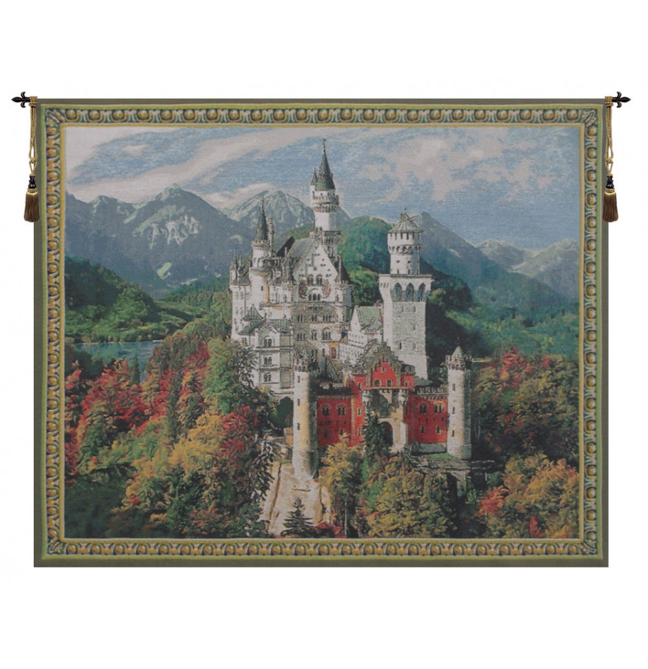 Neuschwanstein Castle Grey European Hanging Wall Tapestry