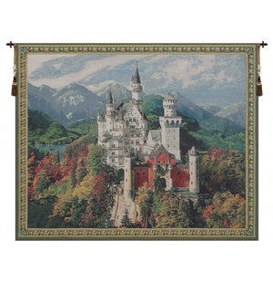 Neuschwanstein Castle Blue Belgian Art Wall Tapestry