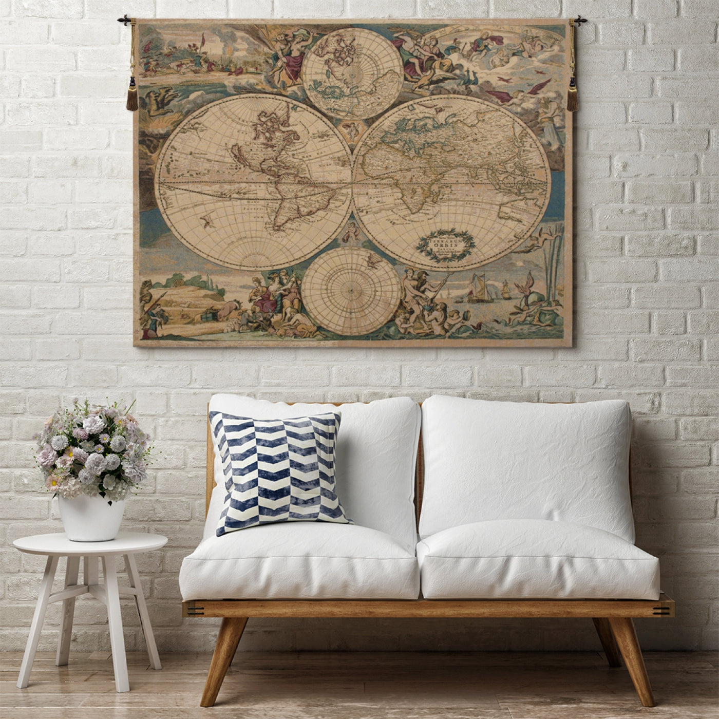 Cream Map Woven Wall Hanging