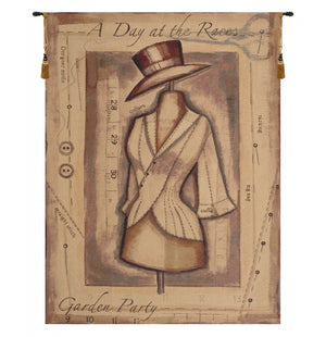 Garden Party Day at the Races European Hanging Wall Tapestry