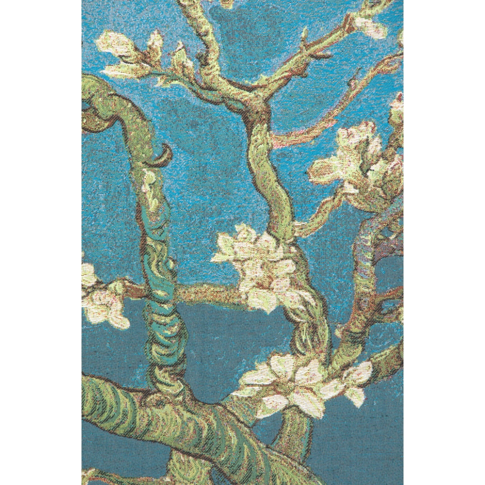Blue Large Cotton Flowers Woven Textile