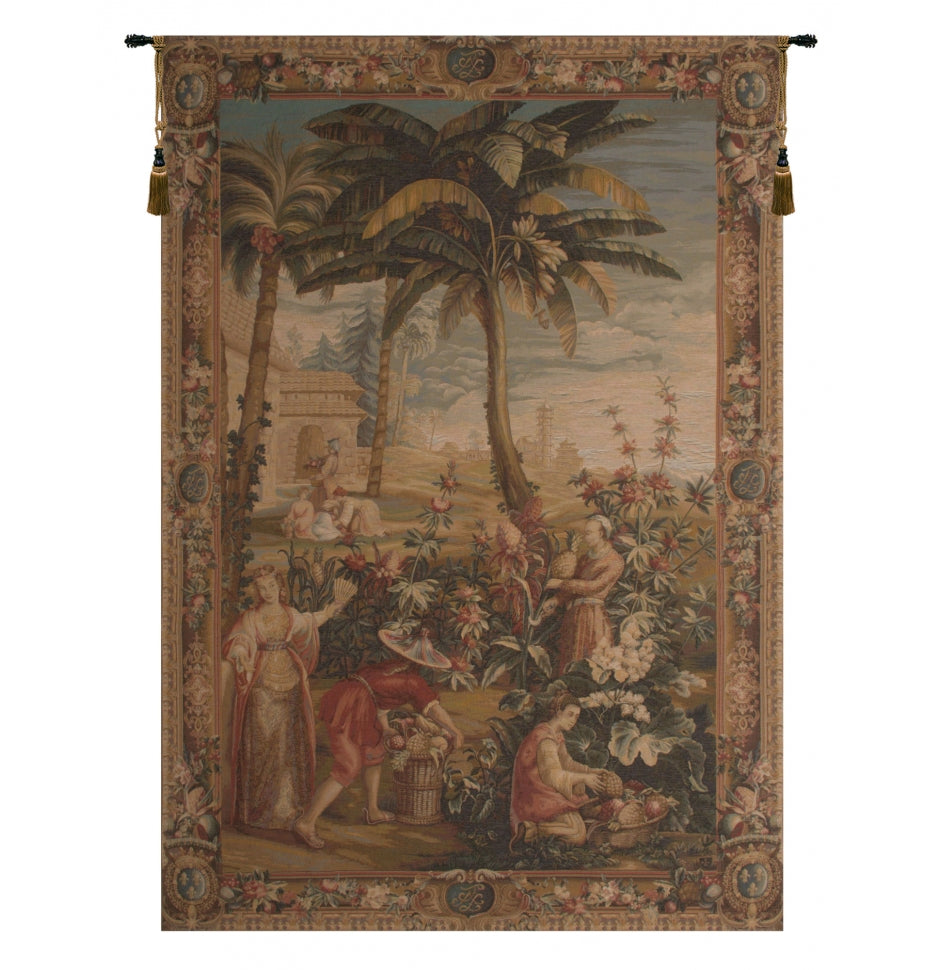 Neutral La Recolte des Ananas I French Decor Wall Tapestry