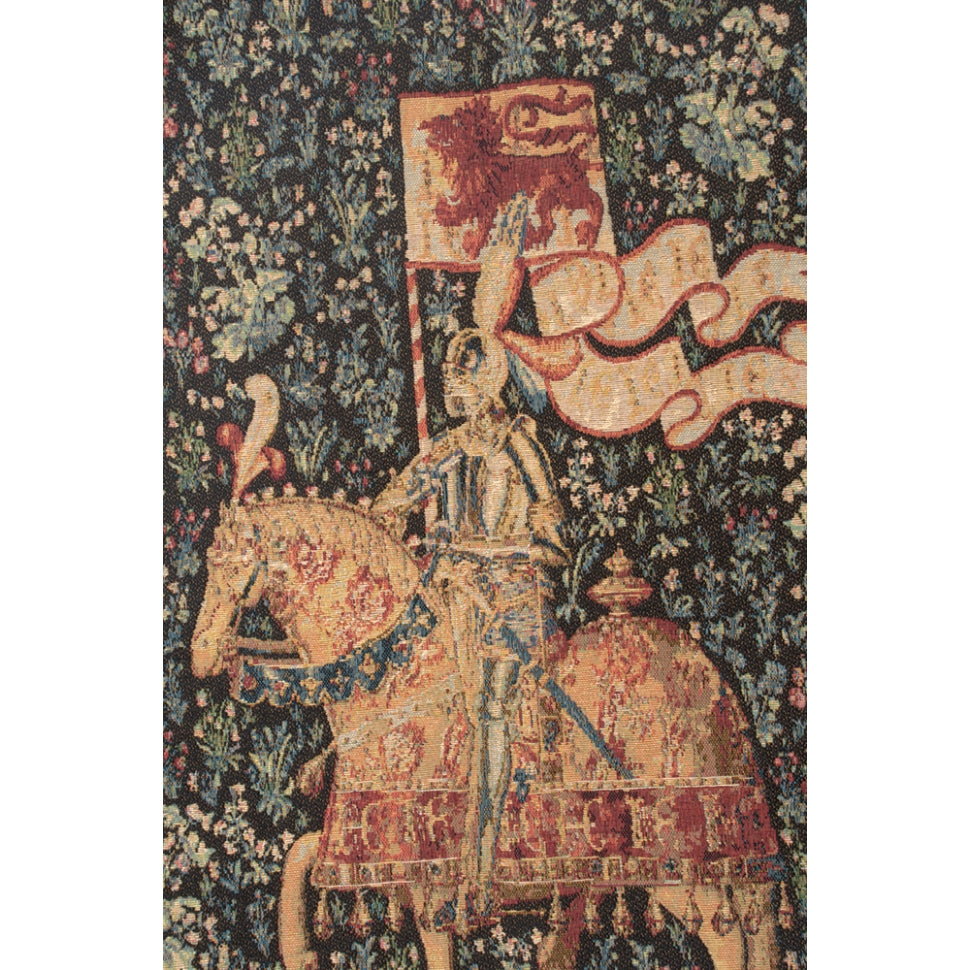 Black and Blue Tapestry Le Chevalier woven wall hanging