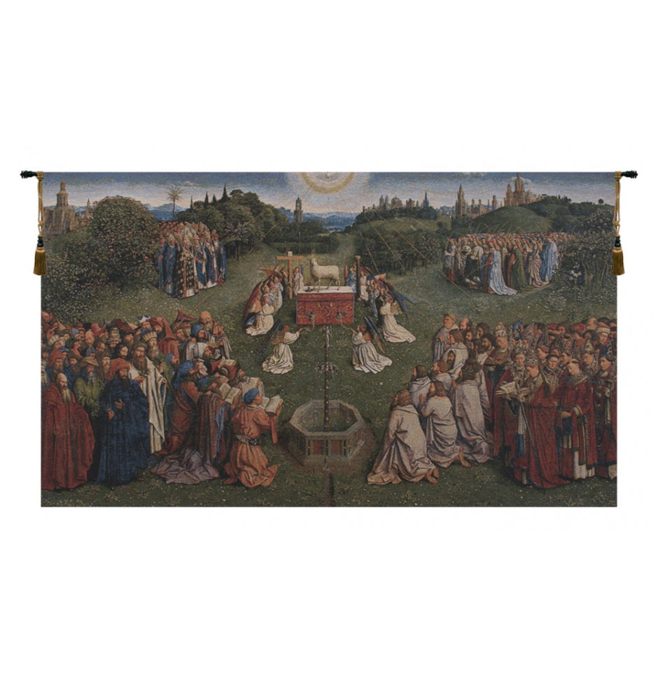 Adoration of the Mystic Lamb European Wall Hanging Tapestry