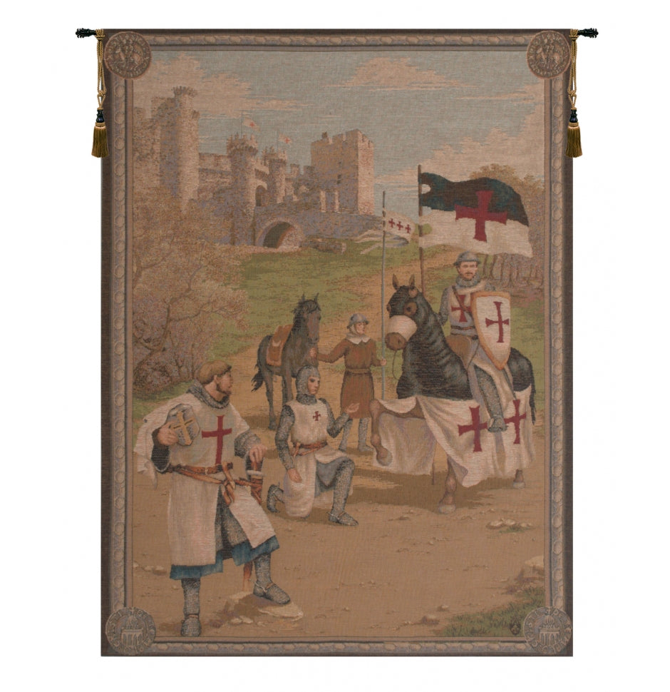 Beige Templars French Decor Wall Tapestry