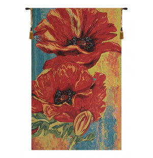 2 Poppy Flower Decor Wall Tapestry