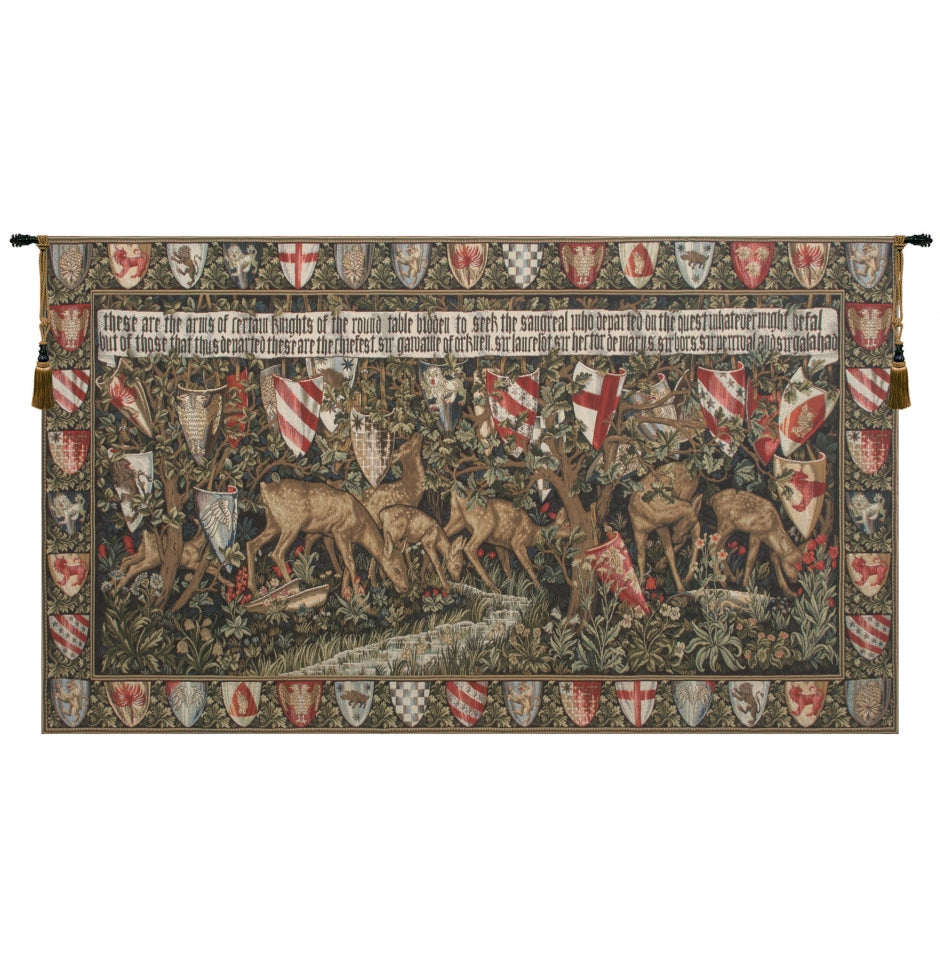 Green Verdure With Reindeer I European Wall Hanging