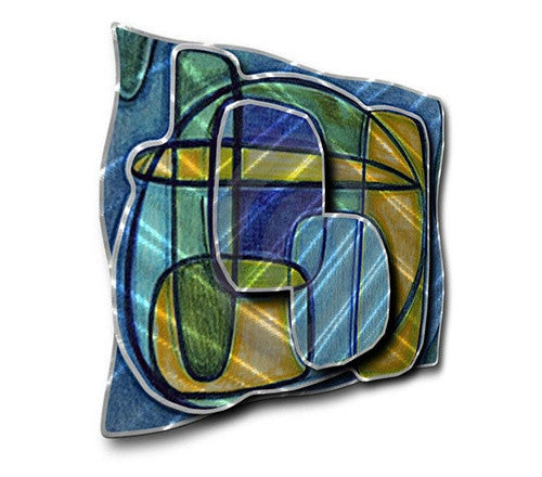 Blue Oblong - Metal Wall Art Decor - Ash Carl Designs