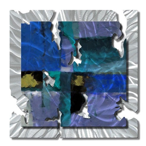Blue Radiant Relic - Metal Wall Art Decor - Ash Carl Designs